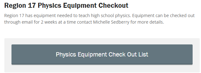 Region 17 Physics Equipment Checkout